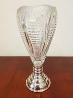 Gyönyörű szép nagyméretű ezüst talpú ólomkristály váza