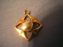 14k Művészi egyedi készítésű arany + gyöngyház medalion ritkaság Alkotója a néhai Bardócz Barna