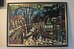 Németh Miklós festmény: Téli utcakép
