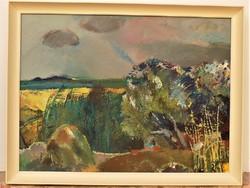 Bod László (1920-2001) Pusztai táj c képcsarnokos olajfestménye 86x66cm Eredeti Garanciával !!!!!