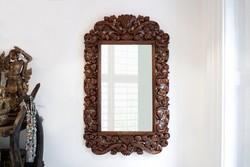 Tükör egyedi, kézzel faragott teakfa keretben 115 x 70cm - Tegyen ajánlatot!