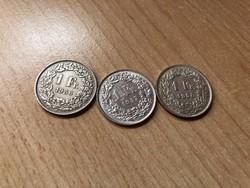 Svájci ezüst 1 frank 1956-1958 3 db 15 gramm 0,835