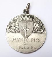 Olasz-Magyar ökölvivó emlékérem,Trieszt 1933. Ezüst.