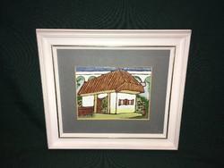 Falusi ház zománc kép