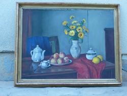 Eladó Bánovszky Miklós: Sárga virágos csendélet című olajvászon, Képcsarnokos festménye