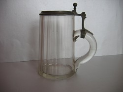 Antik, üveg-ónfedeles söröskorsó (19. század)