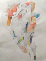 A. Varga Imre (1953-): Absztrakt kompozíció, akril, farost 30 cm X 21 cm + keret