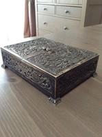 Régi gyönyörű ezüst doboz fa betéttel