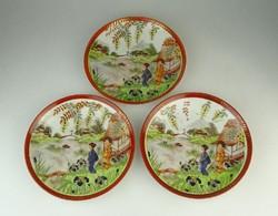 0Q972 Régi japán mintás porcelán tányér 3 darab