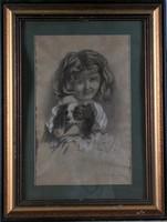 Rainerné Istvánffy Gabriella (1875-1964): Kislány kutyával