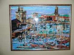Vitorlások a kikötőben - akvarell - jelzett - festmény ( Csak nyáron árulom!)