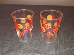 2db. üveg virágos pohár