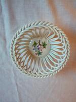 Herendi Viktória mintás porcelán áttört szélű kosár, tál