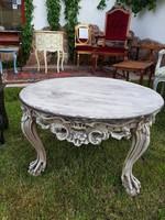 Barokk, rokokó dúsan faragott Provence kör asztal