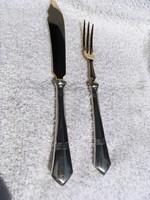 Ezüst evőeszköz készlet 6- pár( desszertes, halas) Antik,aranyozott nemesacél vágó felülettel!