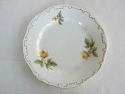 Zsolnay porcelán sárga rózsás süteményes tányér