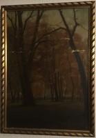 Kiss Farkas Imre (?-?): Erdő részlet. Olaj, karton, jelzett, keretben, 53 × 38 cm