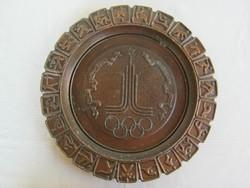 Olimpiai emlék falitányér XXII. nyári olimpia 1980. Moszkva fém fali dísz