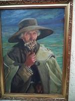 Klimó István Pipázó idős ember a Balaton partján 1918