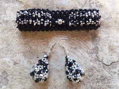 Fekete ezüst karkötő fülbevaló csepp alakú