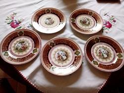 5 db gyönyörü Altwien porcelán kis tányér készlet 15,5 cm átmérő