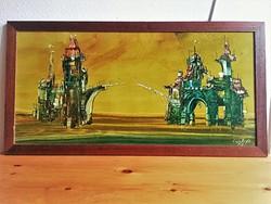 Győrfi András dekoratív festménye egyedi keretben, jó áron: Kapcsolat, olaj, farost, 40x82 cm, 1997