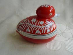 Hollóházi porcelán kacsa figurás bonbonier