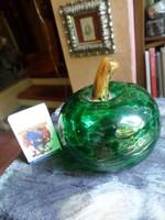 Muránói , szakított ,  fújt üveg díszalma . kb 9 x 7 cm / szára nélkül mérve /