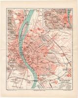 Budapest térkép 1894, lexikon melléklet, német nyelvű, eredeti, utca névjegyzékkel