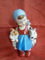 Sitzendorfi porcelán kislány figura kutyusokkal