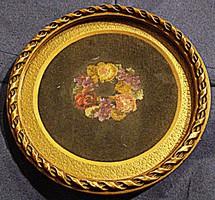 Rózsa és ibolyakoszorú, selyemgobelin