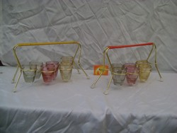 Retro likőrös, röviditalos készlet  színes poharakkal - két komplett készlet tartóban
