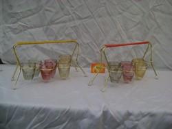 Retro likőrös, röviditalos készlet  színes poharakkal - két komplett készlet