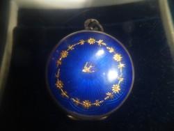Antik lüszterzománc fényképtartó medál
