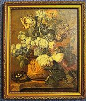 Virágcsokor kővázában, Jacobus Lindhorst festményének reprodukciója