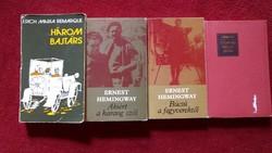 4 KÖNYV EGYÜTT, Ernest Hemingway, Erich Maria Remarque, K. Szimonov KIVÁLÓ MŰVEI, SZÉP ANTIK AJÁNDÉK