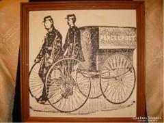 E10 Francia postások  antik tus papír 43x43cm
