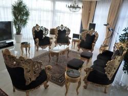 Kastély barokk ülőgarnitura fekete arany diszitéssel   ritkaság