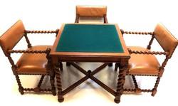 Reneszánsz játékasztal 4 székkel