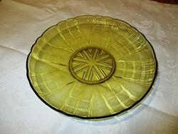 Sárga üveg tálca, tányér, kínáló