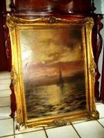Vitorlás a tengeren (antik olajfestmény, 1910)