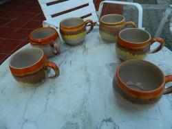 Antik folyatott szivárványos mázas bögre - csésze készlet
