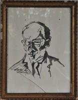 Holló László (1887-1976): Tusrajz, portré tanulmány