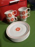 4 db kávés csésze aljjal / Hollóházi porcelán