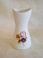 Virágcsokros Aquincumi porcelán ibolya váza 8 cm magas