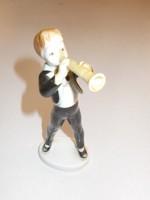 Zenész Régebbi Hollóházi Porcelán Figura