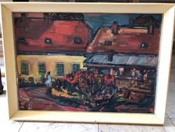 Simon Béla(1910-1980): Park-nagyméretű olajfestmény
