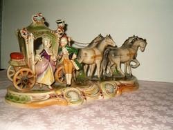 Barokk 4 lovas főúri német porcelán hintó