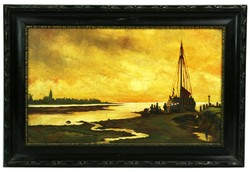Holland festő: Kikötőben festmény