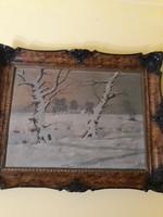 Tél a tanyán dekoratív keretben